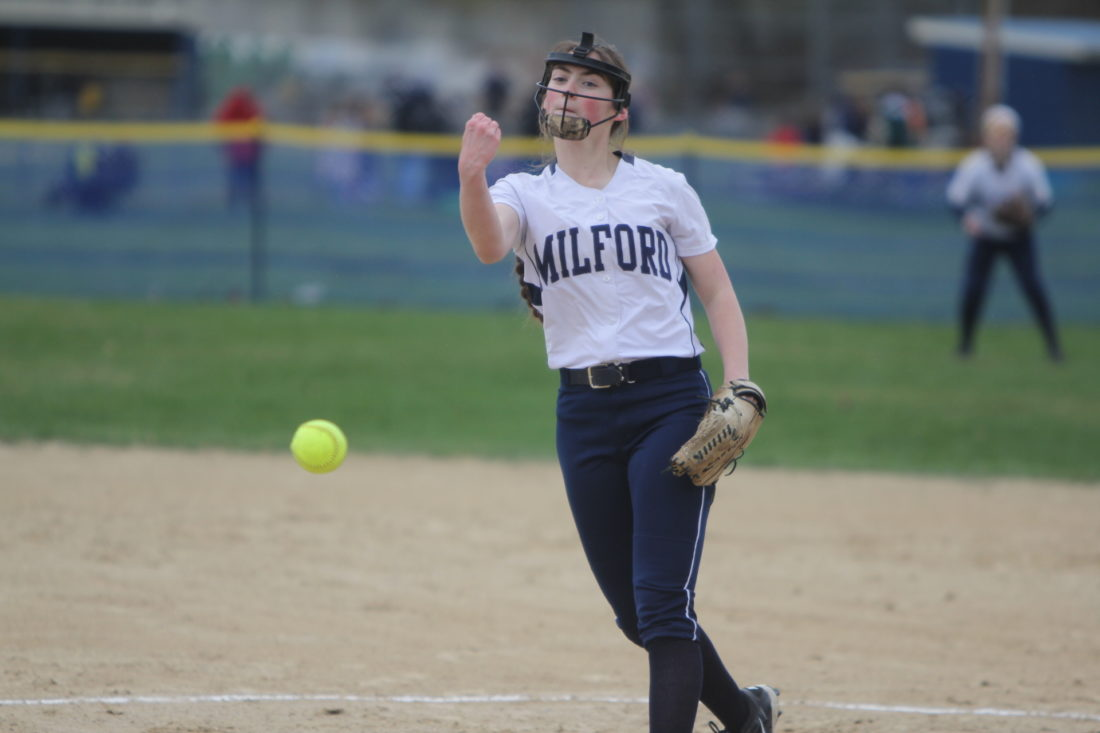 Staff photo by TOM KING MIlford pitcher Delaney Parker struck out 10 Souhegan Sabers en route to a 4-1 win on Wednesday.