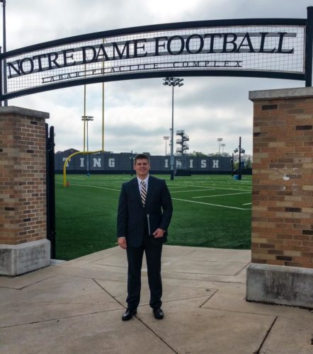 Courtesy photo Former Bishop Guertin tight end Chris Bury is living a dream come true, walking on to the University of Notre Dame football team.