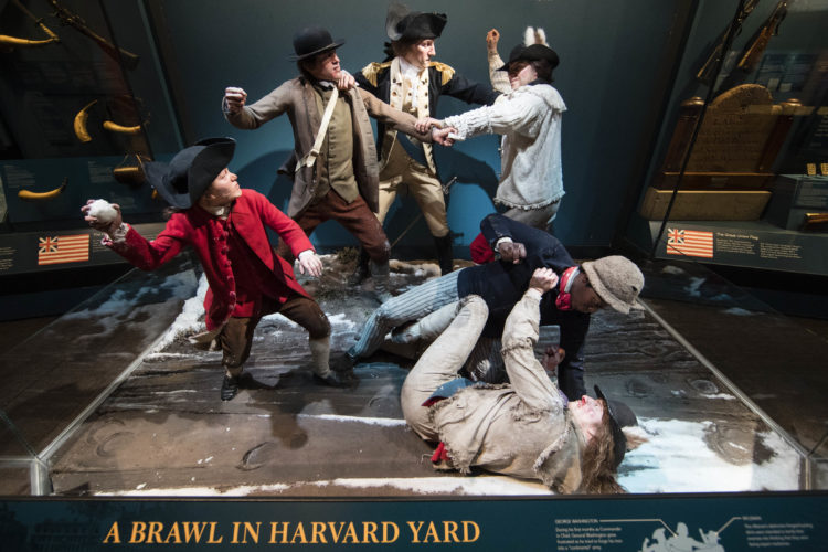 This Thursday, April 13, 2017, photo depicts George Washington, center, breaking up a fight amongst American soldiers including an African American man, lower right, who served in a New England regiment, at the Museum of the American Revolution in Philadelphia. In addition to the familiar narrative of the founding fathers, the museum seeks to tell the stories of women, enslaved people and Native Americans who helped make up the country's 'founding generation.' The museum opens on Wednesday, April 19. (AP Photo/Matt Rourke)