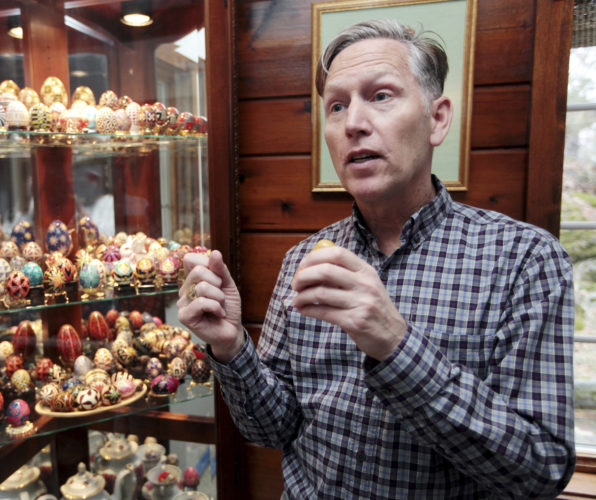 Kelly Evans talks about Ukrainian Easter eggs he has made and how he learned the art from his mother when he was a child, on Wednesday, April 12, 2017, at his home in Sparta Township, N.J. Evans wrote a book published in March 2017 on the history of pysanky, or the art of Ukrainian Easter eggs, dating back more than 2,000 years. (Tracy Klimek/New Jersey Herald via AP)