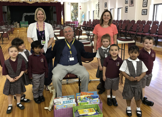 Courtesy photo Preschool teachers Donna Demers and Debbie Heitmiller with preschool children and Jim Walters.