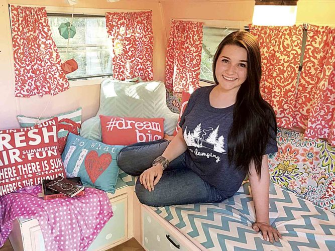 "Photos Provided Ellie Yeater of Williamstown inside her newly remodeled ""glamper."""