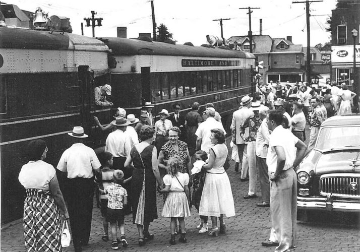 "The ""Doodlebug"" is shown above at the Sixth Street station; the endearing name is a railroad term for small engines.  The Doodlebug made its final run, leaving the Parkersburg Sixth Street station, at 5 p.m., July 18, 1953. The run between Zanesville, Ohio, and Parkersburg, which began in 1886, normally consisted of just two cars, the engine and one passenger car.  Interest by people wanting to be part of the final run was so great that three extra cars were added. (Photo Provided)"