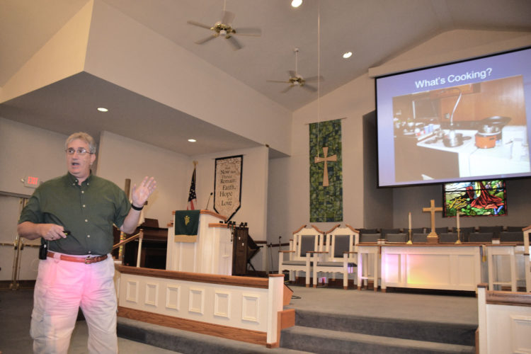Photo by Brett Dunlap Wood County 911 Director Rick Woodyard talks about local meth labs and the dangerous chemicals and processes that go into making meth during a drug awareness seminar held Sunday at the Mt. Pleasant United Methodist Church in Mineral Wells.