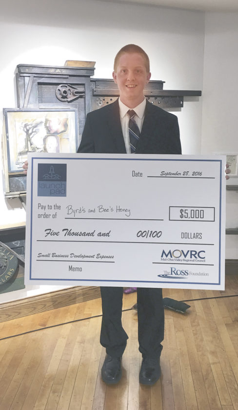 Photo provided Matthew Byrd won the 2016 Launchpad competition Wednesday evening at the Parkersburg Art Center. He was awarded $5,000 to go toward the growth of his business.
