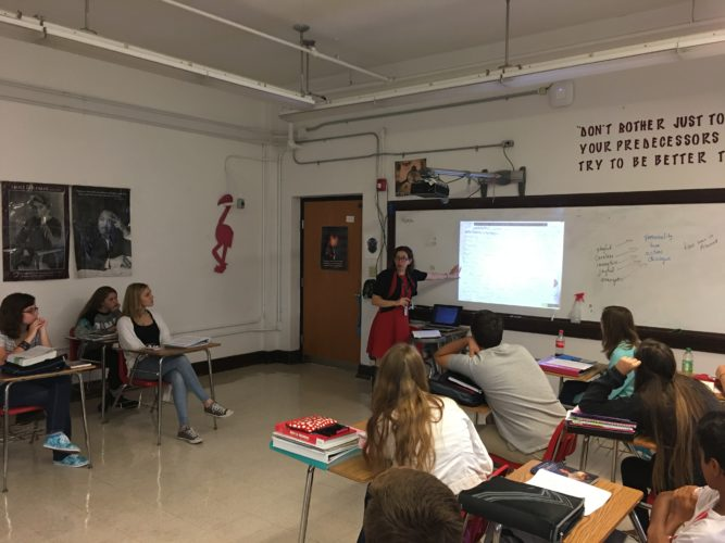 Parkersburg High School English teacher Corinne Full speaks to a group of students Thursday in her classroom at PHS. Full was named Wood County Schools Teacher of the Year.