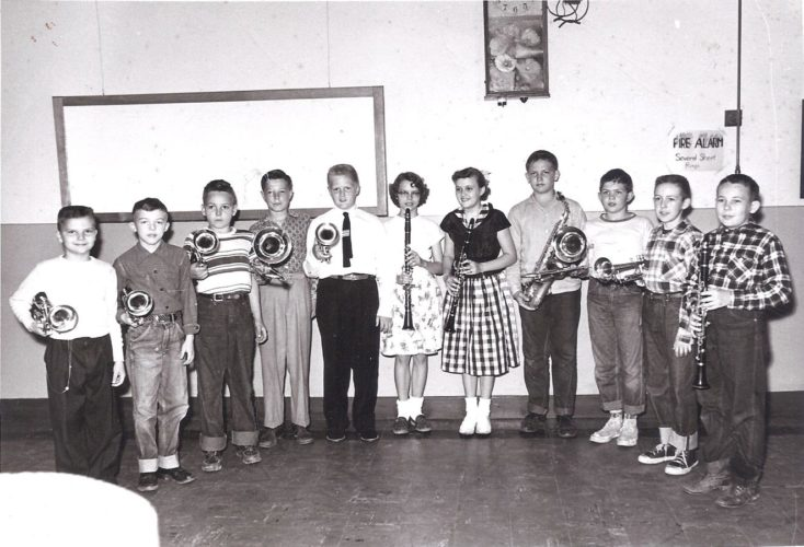 Photo provided by Larry Villers Tavennerville School Band, 1954-55: From left, Roger Blackburn, Larry Villers, Gary Wilson, Steve Nesselroad, Tom May, Lena Petty, Deanna Summers, Jim Wolfe, Donald Nesselroad, Gary Snider, Ronnie Chevront.