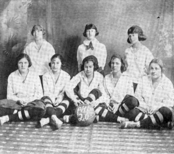 1919-20 PHS Girls Basketball team. Listed as being part of the 1920 basketball team were: Sarah Penn, Bertha Butler,  Geneva Gainer,  Francis Fischer and Virginia Broughton. (Photo from The Parkersburg High School Quill, June 1920)