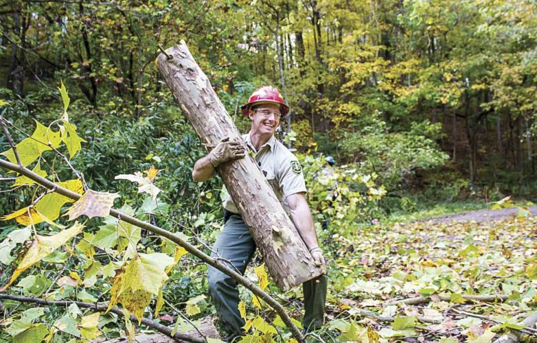 Forest Technician Nick Mossbarger, 30, of Williamstown, clears a downed tree from a road at Hune Bridge Campground. (Photo by Janelle Patterson)
