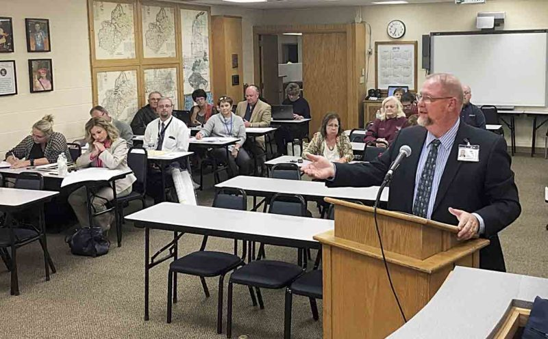 Assistant Superintendent Mike Fling, who oversees facilities for Wood County Schools and has been the lead administrator on the district's $41 million bond call, presented an amendment Tuesday for the district's 10-year facilities plan. (Photo by Michael Erb)