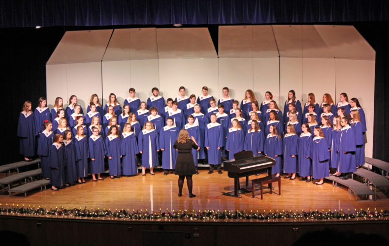 Photo by Madison Sayre  Parkersburg South High School's Freshman Choir performed Thursday at the school as part of the annual Lighting of the Lights holiday event.