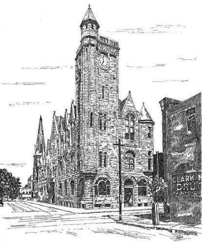 Parkersburg's City Building, drawn by Mike Penn. (Photo Provided)