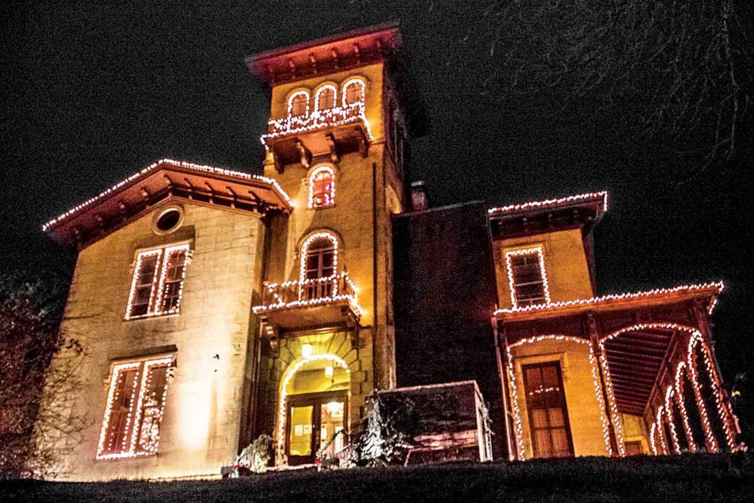 Photo by Janelle Patterson The Anchorage on the West Side is adorned with Christmas lights. An open house to showcase the status of renovations will be held 2-6 p.m. Dec. 17-18.