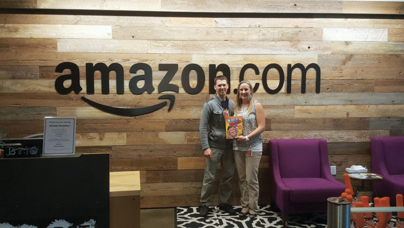 Photo Provided Peter and Alison Denbigh at the offices of amazon.com for the game they created, Watch Ya' Mouth. The game is a hit seller on amazon.com.