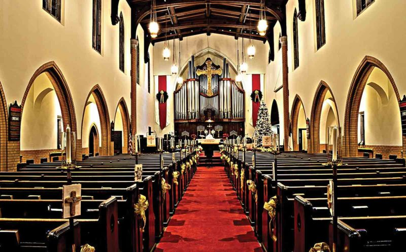 Photo Provided The sanctuary at First Lutheran Church, 19th and Plum streets, has been prepared for the traditional candlelight Christmas Eve services at 5:30 p.m. and 11 p.m. today. Music will precede each service beginning at 5:15 p.m. and 10:30 p.m. A nursery is available for the early service.