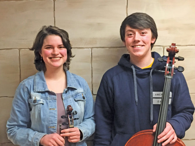 Photo Provided Rachael Puls and Wade Powers were selected to the West Virginia All-State Orchestra.