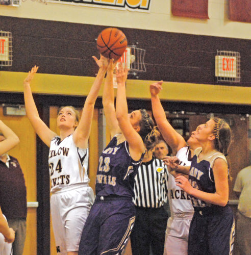 Williamstown's Victoria Clark (24) challenges the shot by St. Marys' Amanda Cox during the Yellowjackets' 64-47 victory on Tuesday night against the visiting Blue Devils. Photo by Jay W. Bennett.