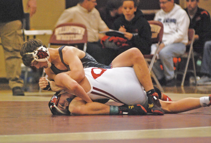 Ravenswood 126-pounder Clay Tanner, top, pictured here against Bridgeport's Joshua Wojciechowicz during the Bob Zide Rumble, has a No. 3 seed at today's Little Kanawha Conference wrestling tournament in Clay County. Photo by Jay W. Bennett.