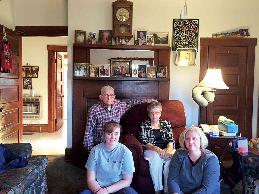 Photo by Miles Layton Family farming runs strong in the Roberts clan of Elk Fork. Back left, John Roberts and wife JoEllen; front left, Jenna Archer and mom Julia. Roberts and his wife have six children, five grandchildren and two great-grandchildren.