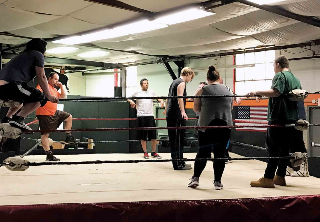 Photo courtesy of Graham Godwin Seven people attended the first class of the West Virginia Wrestling Alliance School of Professional Wrestling on Feb. 11.