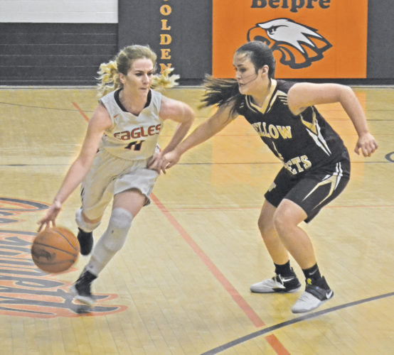 Belpre's Cheyenne Barker, left, handles the ball as Williamstown's BreeAnn Reynolds defends during a high school girls basketball game Wednesday. Williamstown won, 80-75. Photo by Ron Johnston.