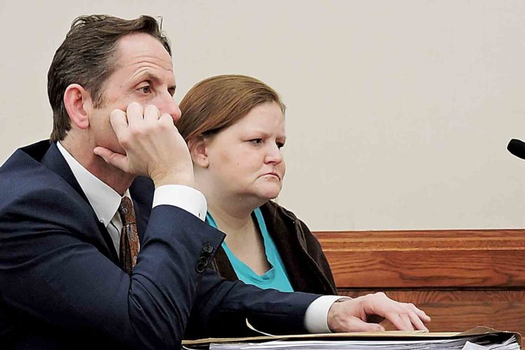 Photo by Sam ShawverWaterford proprietor Shanna Gorrell perceived a judgment of 30 days in jail and 3 years of village control in Washington County Common Pleas Court Thursday. At left is her invulnerability attorney, Rolf Baumgartel.