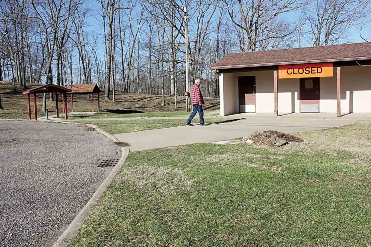 Photo by Janelle PattersonBarlow Township Trustee Richard Best surveys a sealed rest area on Ohio 550 in Barlow.