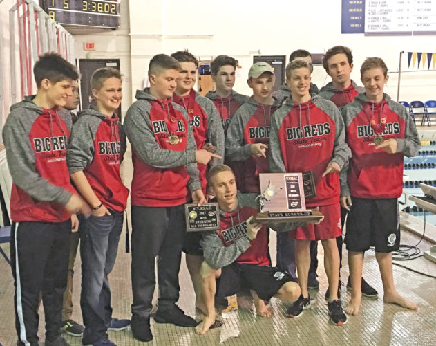 The Parkersburg boys swimming team finished in 2nd place at the WVSSAC State Swimming championship Friday at the WVU Natatorium in Morgantown. Photo by Joe Albright.