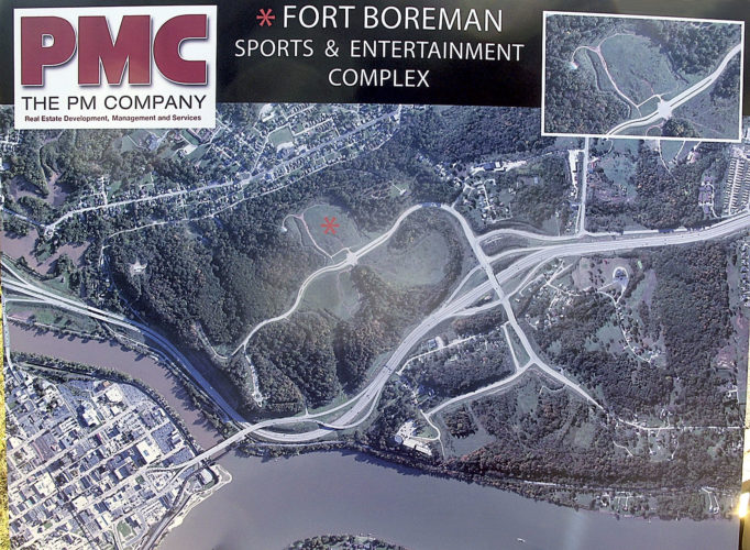File Photo An aerial shot of the proposed site for a sports and entertainment complex on Fort Boreman Hill.
