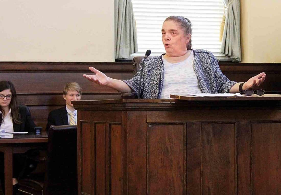 the castle series performs mock trial for residents students attorney robin bozian acts as plaintiff witness willard greene in the castle s history on trial program
