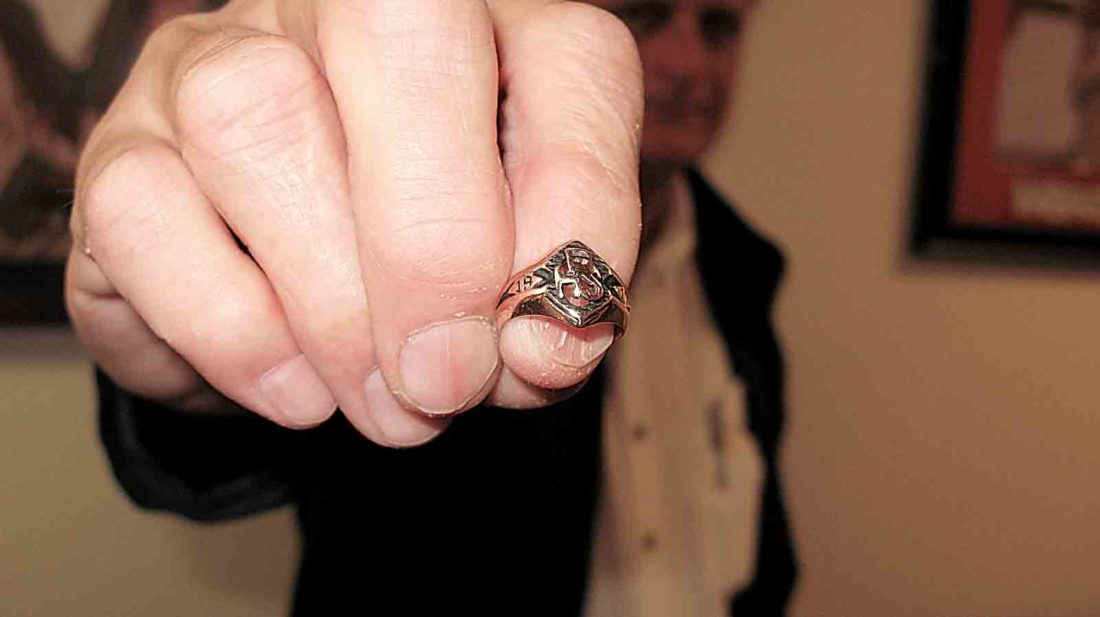 Photo by Jess Mancini Hank Bowry holds the ring his mother, Mary Ann Bowry, kept for more than 30 years. The family attempted to ascertain to whom the ring originally belonged, but couldn't find a match to the initials engraved on the band, HCL.