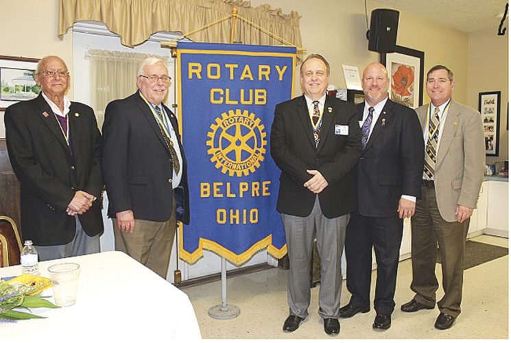 Photo Provided From left, Belpre Rotarians Jim Applebaum, Dr. Kim Poole, President Tim Lindsey and Price Finley, chairman of Rotary District 6690, and Larry Arnold, Belpre Rotary president-elect. Finley was the guest speaker for the club's observance of the Rotary centennial on Feb. 21.