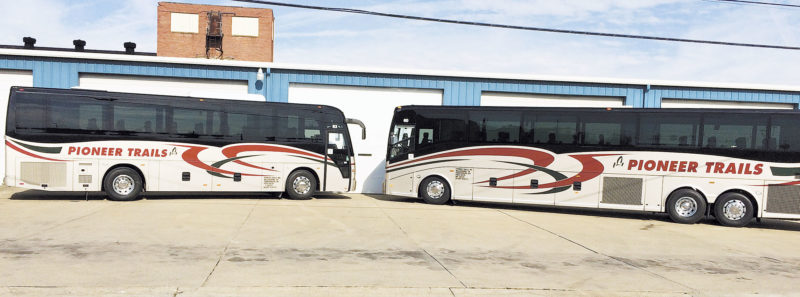 Photo by Brett Dunlap Pioneer Trails recently took over the former Coach USA motorcoach hub in Parkersburg. The terminal, located on Camden Ave. near the Erickson All-Sports Facility, has 20 employees who were hired by the new company and will continue on.