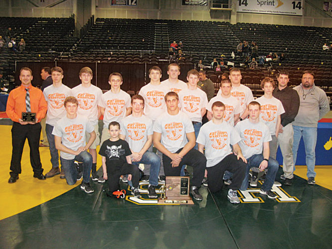 The Wirt County High School wrestling team celebrates after winning the first Class A state championship in West Virginia history during the 70th annual event Saturday night inside Huntington's Big Sandy Superstore Arena.