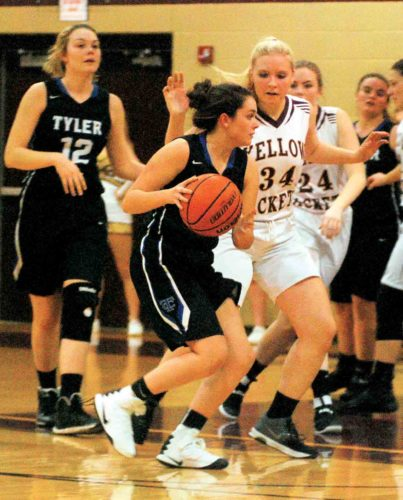 File photo Williamstown's Samantha Dedrick, right, defends during a game against Tyler Consolidated earlier this season.
