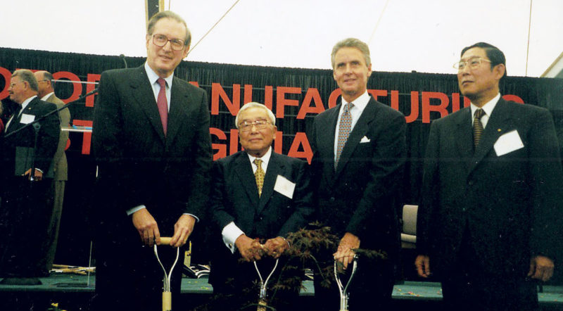 Photo Provided From left, Senator Jay Rockefeller, Mr. Eiji Toyoda, Gov. Gaston Caperton and Mr. Hiroshi Okuda break ground for Toyota Motor Manufacturing West Virginia Inc. in September 1996.