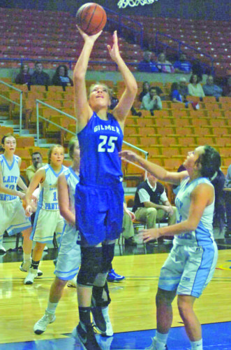 Gilmer County's Riley Fitzwater goes up for a shot against Lincoln earlier this year. Photo by Joe Albright.