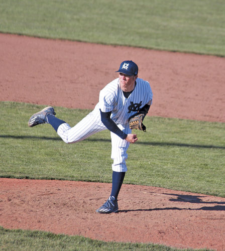 Marietta College's Kordell Antill pitches during the team's home opener against Denison University. Marietta College lost, 6-2. Photo courtesy of France Moise.