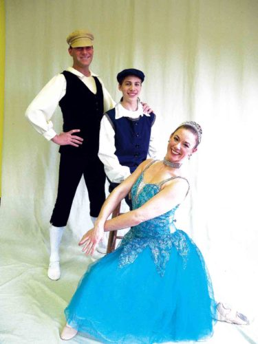 "Photo Provided The Mid-Ohio Valley Ballet will present ""The Adventures of Pinocchio"" on March 31 at Marietta High School. The cast includes, from left, Bryan Cunningham as the Wood Carver, Owen Tidd as Pinocchio and Jolene Troisi as the Turquoise Fairy."