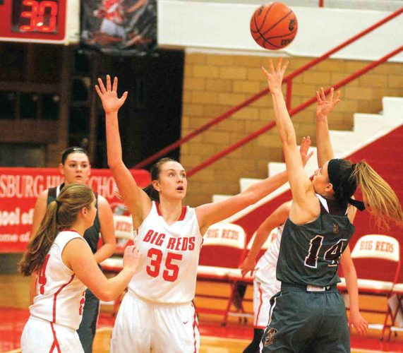 File photo Parkersburg High's Madi Mace (35) defends during a game this season at PHS Memorial Fieldhouse.