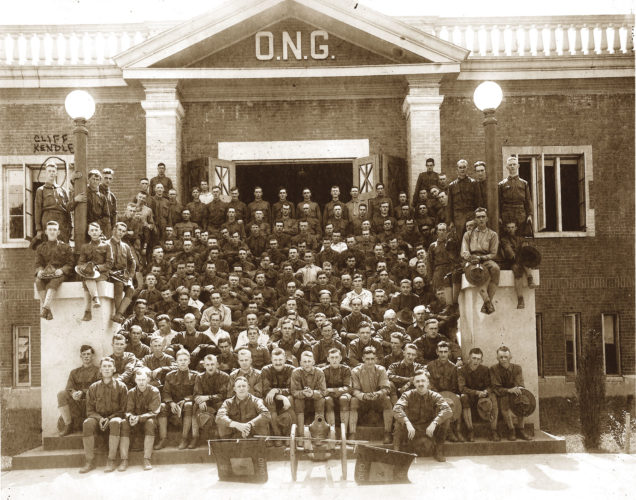 Photo courtesy of Friends of the Armory Marietta's Company B,7th Ohio National Guard stands on the steps of the armory on Front Street before leaving for Camp Sheridan.