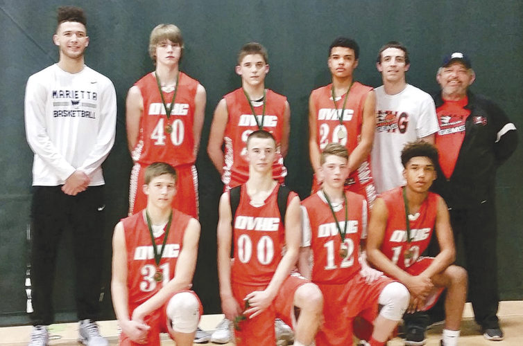 The Ohio Valley Hidden Gems 14U basketball team won the Parkersburg Elite G&W tournament earlier this month. In the front row, from left to right, are Joel Chevalier, Mark Duckworth, Nic Hart and Tony Munos. In the back row, from left to right, are coach Michael Hall, Jake Baumguard, Conner Baker, Makiah Merritt, coach Mark Tate II and coach Mark Tate.