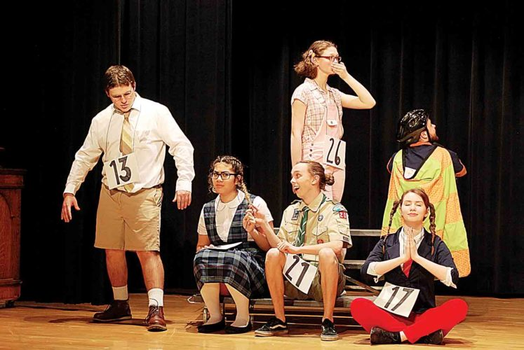"""Photo courtesy of Abby Smith The Parkersburg High School Theater Department will present """"The 25th Annual Putnam County Spelling Bee."""" The cast includes standing from left, Isaac Edman, Joanie Owen and Andrew Miser, and front seated from left, Madie Khoury, Brayden Rayb and Payton Burkhammer."""