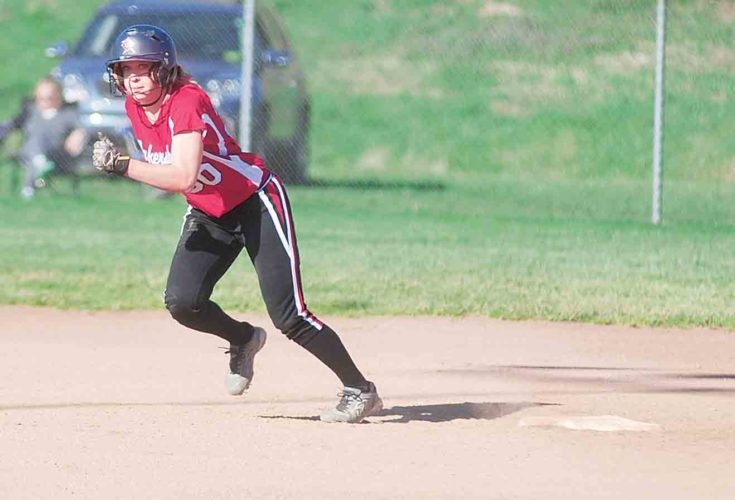 File Photo  Parkersburg High's Riley Boggess takes off from second base during a Big Red softball game.