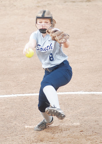 Parkersburg South's Jordan Stanley pitches during a softball game Thursday against Point Pleasant at Godbey Field. Photo by Steve Hemmelgarn.