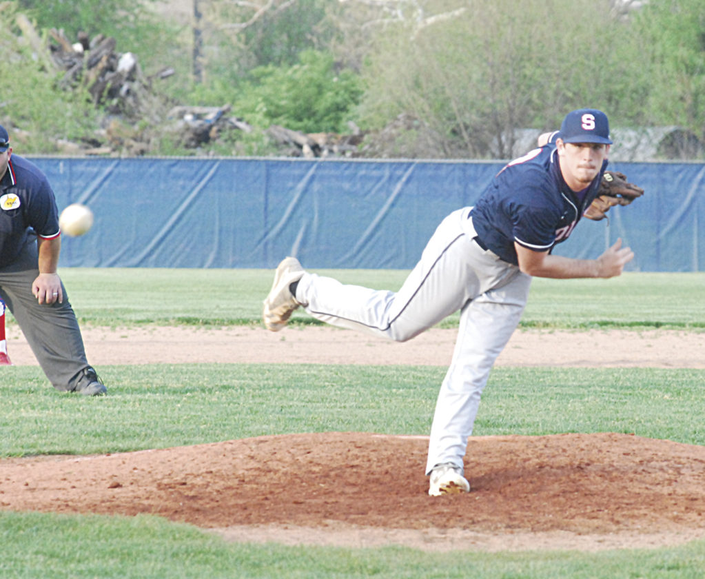 Parkersburg South's Hunter DeLong throws a pitch during a high school baseball game against Fort Frye Wednesday at Hank Greenburg Field. DeLong and Dalton Wiggins combined for a no-hitter in the Patriots' 5-0 win. Photo by Mike Morrison.