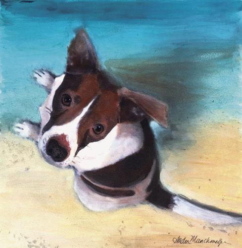 """Terrier 2"" acrylic on gallery block by Andrea Jonas Munchmeyer of Florida"