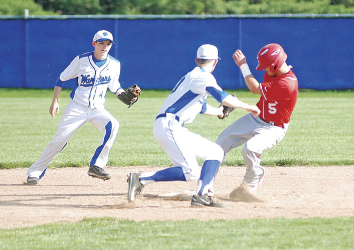 Parkersburg's Bradley Craig (5) steals second base as Warren's Bryce Gandee fields the throw during a high school baseball game Thursday in Vincent. Parkersburg won, 15-10. Photo by Jordan Holland.