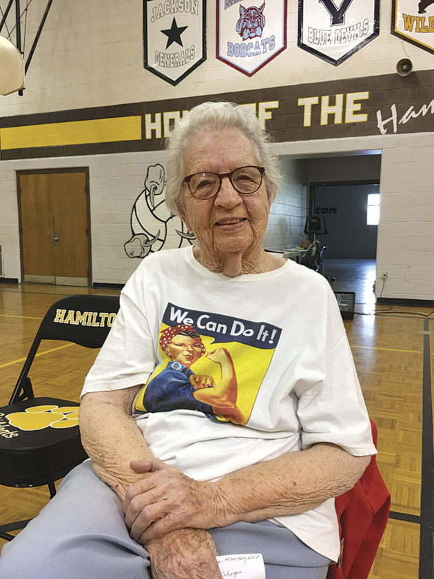"""Photo by Michael Erb Marietta resident Neva Rees worked as a """"Rosie the Riveter"""" during World War II, constructing engines for blimps used for reconnaissance during the war. Rees told her story to Hamilton Middle School students Thursday."""