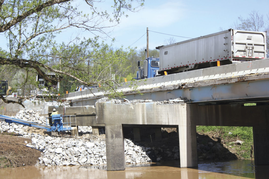 Photo by Janelle Patterson Construction on the Whipple Bridge Monday.
